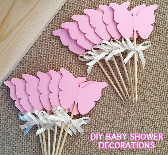 Diy butterfly cupcake toppers printable baby shower for Baby shower decoration butterfly