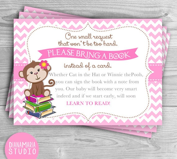 Girl Monkey Bring A Book Card Book Instead Of Card Monkey Baby Shower  Book  Insert Baby Shower Printable  INSTANT DOWNLOAD