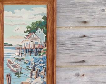Vintage Paint By Numbers Ocean Scene - Harbor Scene - Vintage Nautical Painting - Framed Paint By Number Painting - Framed Art