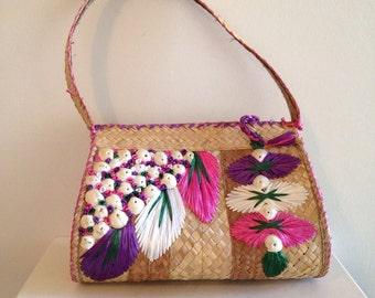 Vintage Tiki Tropical Straw Beach Bag Purse With Shells