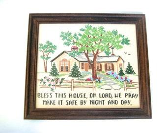 Framed Embroidered Sampler