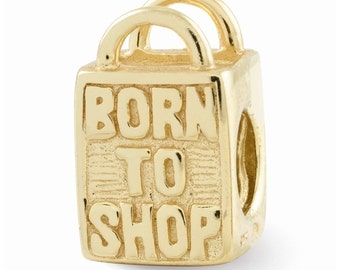 Sterling Silver Gold-plated Born to Shop Bead