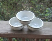 restaurant sauce or side bowls vitrous china made in usa green stripes