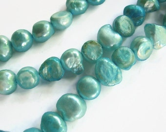 8mm Teal Freshwater Pearl Beads, 16 Inch Full Strand Cultured Pearls, Aqua Teal Pearl Beads, Wholesale Beads, Beach, BPR003