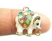 Gold Tone Elephant Charm - Indian Elephant Pendant with Rhinestones 18 x 15mm - CHR012