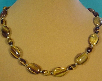 "19"" Tiger Eye Necklace - N374"