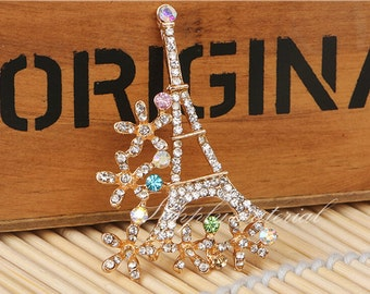 1PCS Crystal Golden Siamese iron tower Flowers Flatback Alloy jewelry Accessories materials supplies