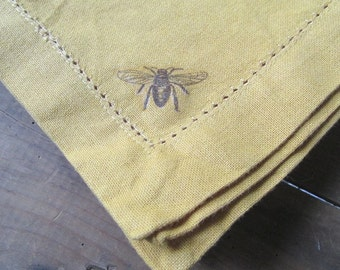 Linen Honeybee Napkins Mustard Yellow Set of 4