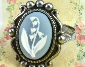 Blue Cameo Ring with Lily of the Valley Design~adjustable Ring