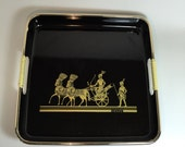 Vintage Black Lacquered Tray Hard Plastic w/gold trim