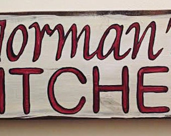 Normans Kitchen -Custom Handpainted Wood Sign, 24x7