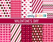 80% OFF SALE Valentine's Day Stripes Polka Dots Cute Digital Papers, Instant Download, Commercial Use