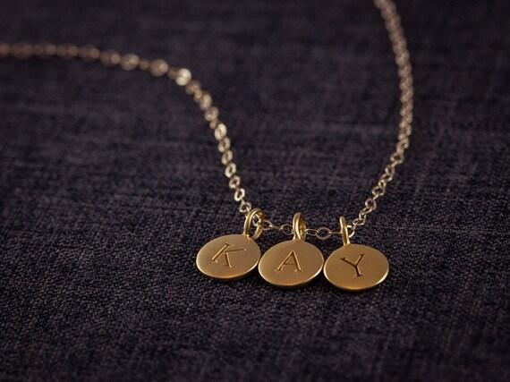 24k gold buchstaben kette 3 drei ersten collier. Black Bedroom Furniture Sets. Home Design Ideas