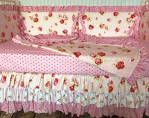 20% Off Ready To Ship Pink White Shabby Chic Floral Custom Crib Bedding Nursery Bedding