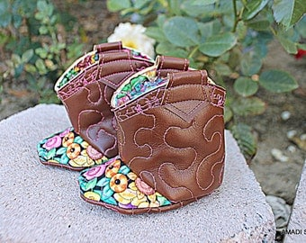 Baby Boho Boots Western Vegan Cowboy Cowgirl Booties Infant Shoes  Rodeo Sweetheart Photo Prop Little Kickers for Babies
