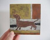 SALE- Dachshund Miniature Painting on Wood