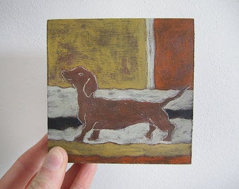 Dachshund *Happy Go Lucky* Mini Original Painting on wood panel