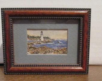 Artist Signed Doll House Size Framed Lighthouse Print by Debe Abbott