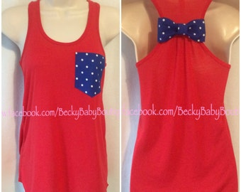 Patriotic 4th of July American Pride Racerback Tank Top with Pocket & Bow Tank Top - Customizable Womens Pocket Tank Top with Bow - Flowy