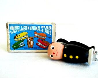 Vintage Colorful Wooden Little Man Stapler