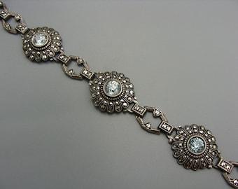 Art Deco Art Nouveau Blue Zircon Bracelet Sterling with Safety Chain Marcasite