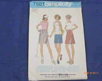 """7501 Simplicity SZ 20 1/2 Bust 43"""" Half Size Pattern Simple To Sew Pullover Top Reverislbe Front Wrap Skirt Shorts Vintage 1976 Uncut"""