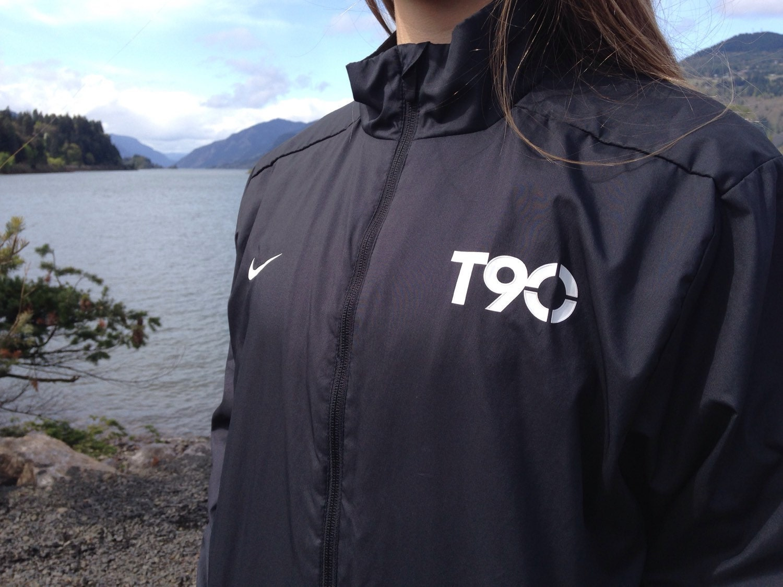Nike T90 Soccer Windbreaker Black Track Jacket Mens L Large