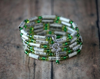 Best of Me Paper Bead Bracelet - Spiral Wrap Bracelet - Memory Wire