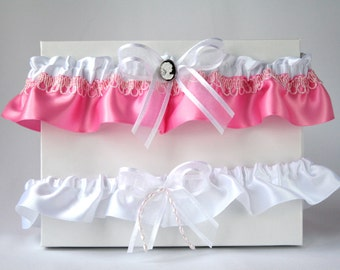Pink and white garter set/Garter set Cameo/Satin garter/Iridescent garter/Cameo garter set/Keepsake garter/Toss garter/ pink prom garter