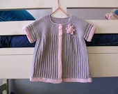 Gray wool baby girl cardigan sweater with flower trim, short sleeves knit, hand knitted pink & grey, child 9 - 15 months