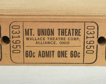 Vintage Theatre Tickets in Sets of 25, 50 or 100 - Old Neutral Beige Movie Theater Tickets - Mount Union Theatre - Alliance, OH - Ephemera
