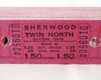 Dark Magenta Vintage Theatre Tickets - Sets of 13 or 25  - Old Pink Purple Movie Theater Tickets - Sherwood Twin North, Dayton, Ohio
