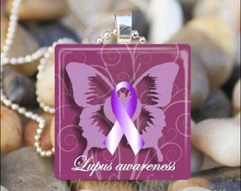 LUPUS AWARENESS Purple Ribbon Butterfly Hope Glass Tile Pendant Necklace Keyring