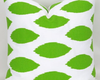 Ready to ship! Lime Green Pillow Cover, Throw Pillow, Green White Ikat Cushion Cover, Euro Sham, Chipper Chartreuse, for 18x18 22x22 pillow