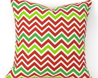 Christmas Throw Pillow Cover, Accent Pillow, Euro Sham, Cushion Cover, Red & Green Zigzag/Chevron Pillow -MANY SIZES- ZoomZoom Holiday Decor