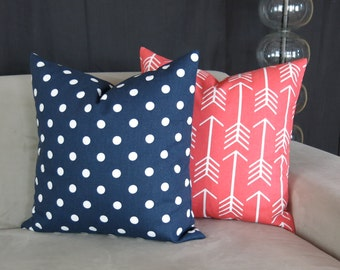Decorative Throw Pillow Covers, Coral & Navy Blue Accent Pillows, Set of Two -MANY SIZES- Polka Dot, Arrows by Premier Prints