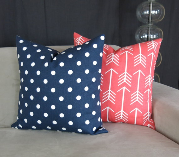 Decorative Throw Pillow Covers Coral & Navy Blue Accent