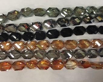 17x25mm hexagon shaped chinese crystal glass, 13beads