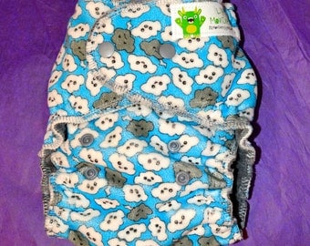 Cranky Clouds One Size Fitted Diaper