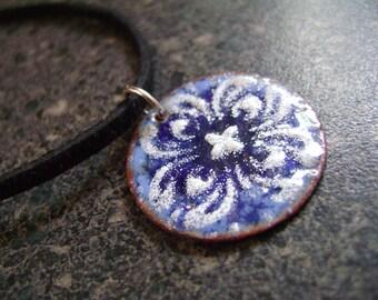 BLUE MANDALA - Mandala Pendant, Enamel Necklace, Enamel Jewelry, Unisex Pendant, Necklace, Spiritual Jewelry, Kaleidoscope, Blue Pendant