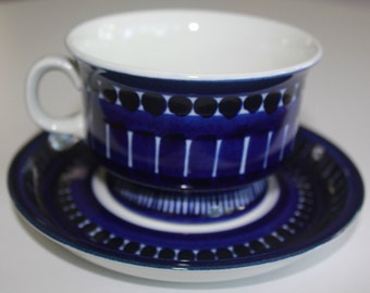 "Arabia ""Valencia"" pattern coffee / tea cup with saucer"