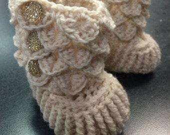 Crocodile Stitch Baby Booties - Handmade Baby Booties - Crochet Baby Booties - Oatmeal Crocodile Stitch Booties