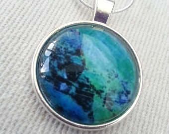 "Green blue pendant necklace ""Sea green"""