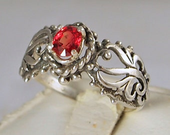 Red Sapphire Filigree Ring, 0.50 Ct Free Shipping