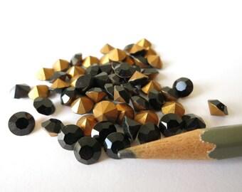 12 Swarovski Jet Black Opaque Rhinestone Crystals 6mm