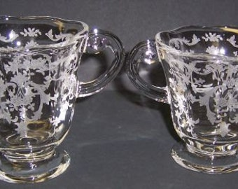 Fostoria Crystal Clear Elegant Glass NAVARRE Creamer and Sugar Bowl Set