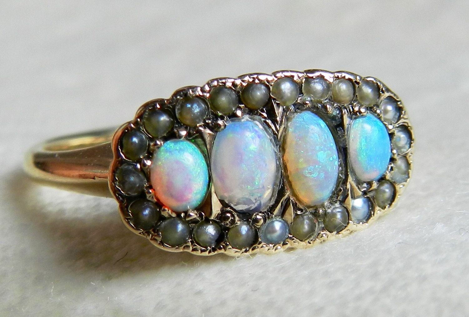 opal engagement ring australian blue opal seed pearl ring. Black Bedroom Furniture Sets. Home Design Ideas