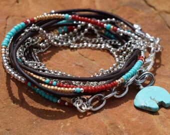 Boho - Sante Fe - Endless Leather Wrap Bracelet