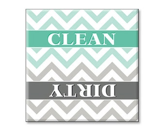 Clean Dirty Dishwasher Magnet Turquoise Gray Chevron - christmas birthday home retro deco gift Idea stocking stuffer party favor vintage