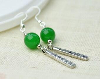 Handcrafted Green chalcedony Tibetan Silver Plate Long Danlge Hoop Earrings